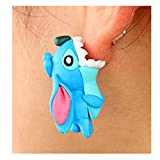 EdtoyCartoon Fashion Animal Clay Earrings Europe and The United States Personality Soft Earring (Stitch)