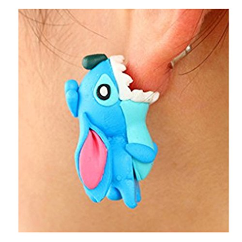 Price comparison product image EdtoyCartoon Fashion Animal Clay Earrings Europe and The United States Personality Soft Earring (Stitch)