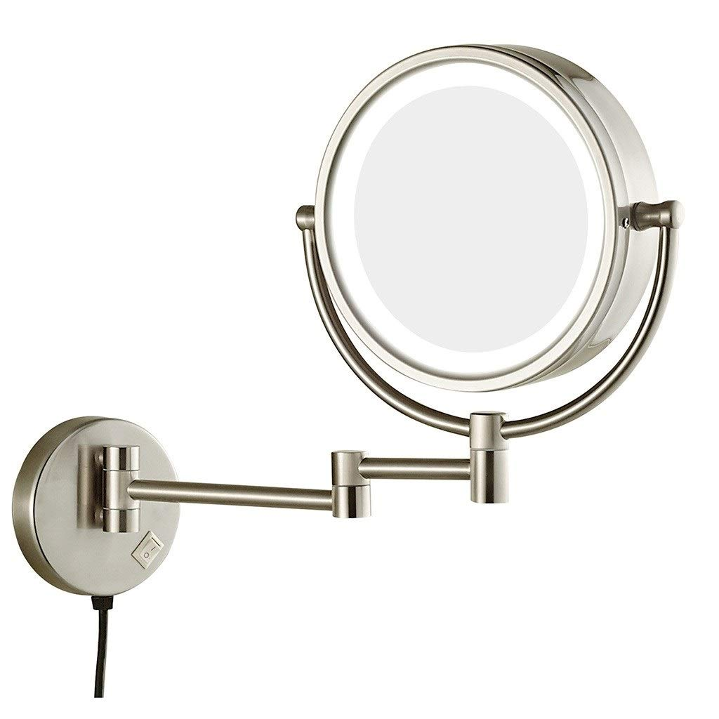 WUDHAO Wall-Mounted Vanity Mirrors Nickel Brushed 8-inch LED Makeup Mirror Adjustable Arm Tilt Easy Positioning 7X Magnifying Wall-Mounted Vanity Mirror (Color : Nickel Plating, Size : 8 inches 7X)