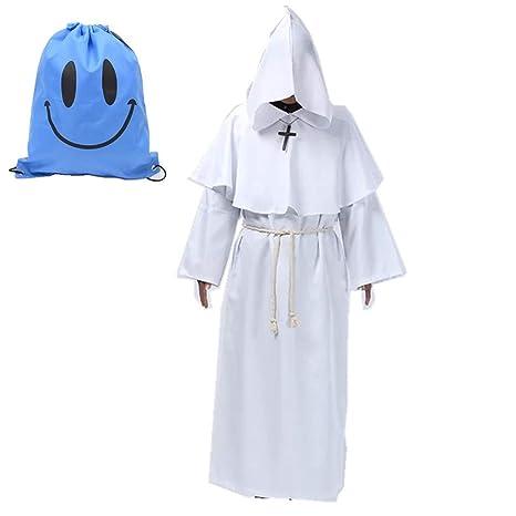 Myir Disfraz de Monje Sacerdote Túnica Medieval Renacimiento Traje con Cruz para Halloween Carnaval (XL, Blanco)