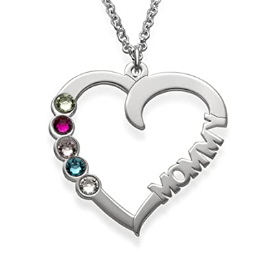 2231d14d68 Amazon.com: FACOCO 925 sterling silver lucky stone heart-shaped necklace  fashion elegant ladies custom name necklace gift(silver 14): Jewelry