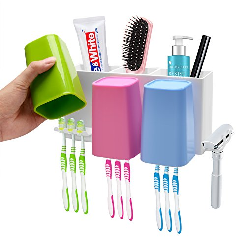 Victorian Wall Mounted Soap Dispenser (Toothbrush Holder Wall Mounted Bathroom Toothbrush Holder Set Anti-dust with 3 Cups Storage Set 3M Self-Adhesive Easily Mounted Organizer - Design for Whole Family)