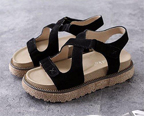 Boemia Cinghia Spiaggia Le Shoes signore Scarpe Caviglia Estate Scarpe Dito Ciabatte HN Donna Scuola infradito Ragazza Sbirciare del black sandali piede Piatto xUTq4EX
