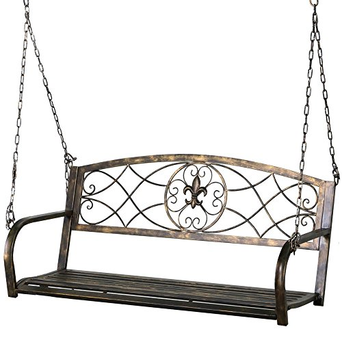 (Yaheetech Iron Porch Swing Hanging Bench Chair Patio Bench Outdoor Swing Glider Chair Outdoor Funiture Fleur-De-Lis Design)