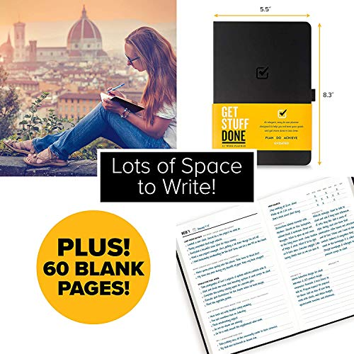 """Get Stuff Done Planner for Productivity - 13 Week Undated Planner, 8.3"""" x 5.5"""" - Monthly, Weekly And Daily Agenda - Best For Full Focus And Achieving Goals - Personal Organizer for Men & Women"""