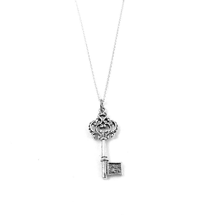 3559af860 Antique Inspired Ornate Victorian Key Charm Necklace Sterling Silver Jewelry  (16 Inches) | Amazon.com