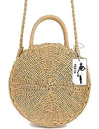 Straw Crossbody Bag Women Weave Shoulder Bag Round Summer Beach Purse and  Handbags 52093b1701