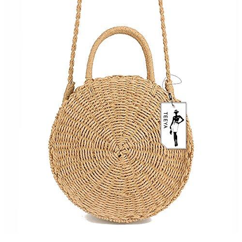 Straw Crossbody Bag Women Weave Shoulder Bag Round Summer Beach Purse and Handbags