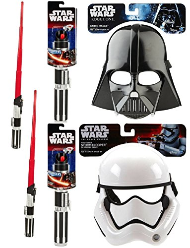 Star Wars: Rogue One Darth Vader Mask + Stormtrooper & 2 A New Hope Darth Vader Extendable Lightsaber Duel Action Combo Dress Up Pack