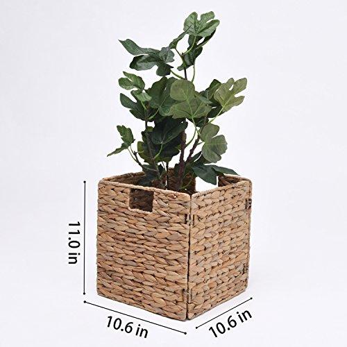 StorageWorks Hand-Woven Storage Baskets With Iron Wire Frame, Fordable Hyacinth Storage Baskets, Medium,10.6