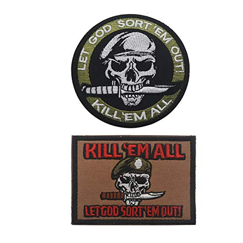 SOUTHYU 2 Pieces Kill Em All Let God Sort Em Out Tactical Morale Patches Embroidery Pirate Badge Emblem Hook and Loop Patch