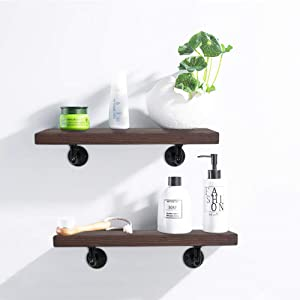 Rustic Floating Real Wood Shelves with Industrial Pipe Brackets, Set of 2- US Made, Farmhouse Bathroom Shelves Over The Toilet Wall Shelves 8x24x2 Inch Pipe Shelves