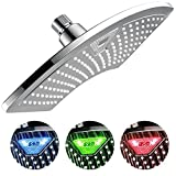 DreamSpa 1489 AquaFan 12 inch All-Chrome Rainfall Shower-Head with Color-Changing LED/LCD Temperature Display, 12''