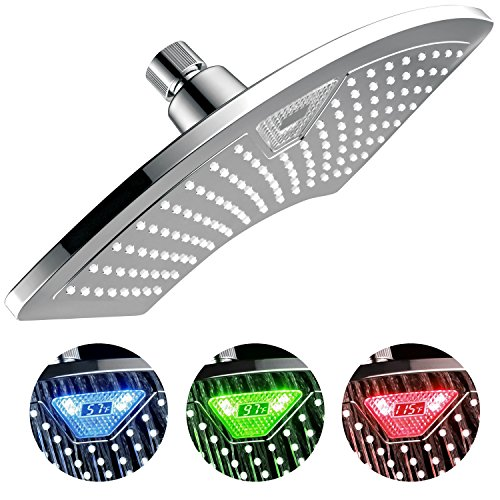 DreamSpa 1489 AquaFan 12 inch All-Chrome Rainfall Shower-Head with Color-Changing LED/LCD Temperature Display, 12