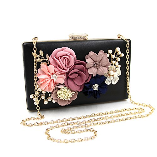 Dinner Clutch Black Bag Pearl Evening Flower Women's Hand Beaded Satin qtxwEpZ71