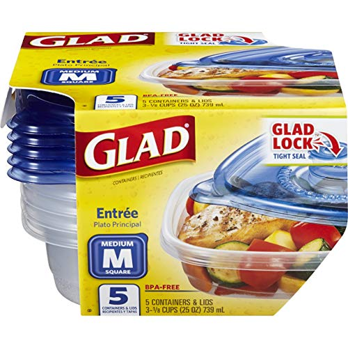 - Glad Food Storage Containers - Entree Container - 25 Ounce - 5 Containers
