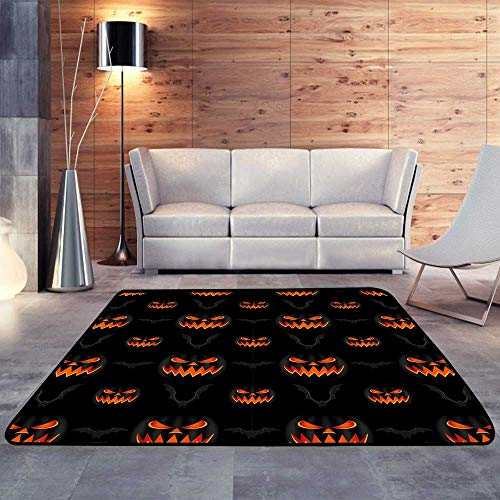 Rubber mat,Orange Halloween Pumpkins Carved Faces Silhouettes and bat on Black.W 47