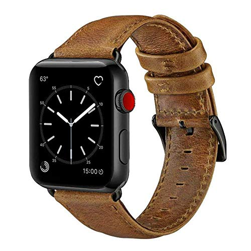 (OUHENG Compatible with Apple Watch Band 42mm 44mm, Genuine Leather Band Replacement Compatible with Apple Watch Series 4 Series 3 Series 2 Series 1 (42mm 44mm) Sport and Edition, Retro Brown Band)
