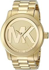 This classic shiny gold timepiece has a standout feature - the light champagne face with a striking Michael Kors logo.