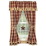 Cheap Burgundy Farmhouse Star 63″ Curtain Panels