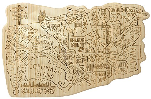 Totally Bamboo City Life Serving Board, San Diego, 100% Bamboo Board for Serving and Entertaining