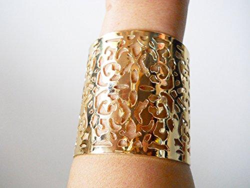 Gold filigree cut out design open adjustable cuff bangle -