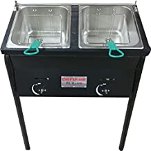 Ballington Outdoor Two Tank Fryer with Propane Gas Tanks, 2 Baskets & Stainless Steel Oil Tank