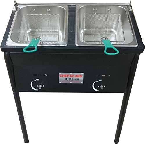 Ballington Outdoor Two Tank Fryer, 2 Baskets & Stainless Steel Oil Tank