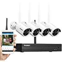 Wireless Security Camera System incoSKY WiFi DVR/NVR 720P 4CH HD Night Vision, Motion Alerts, IP66 Waterproof for Office, Home Surveillance, No Hard Drive, W2