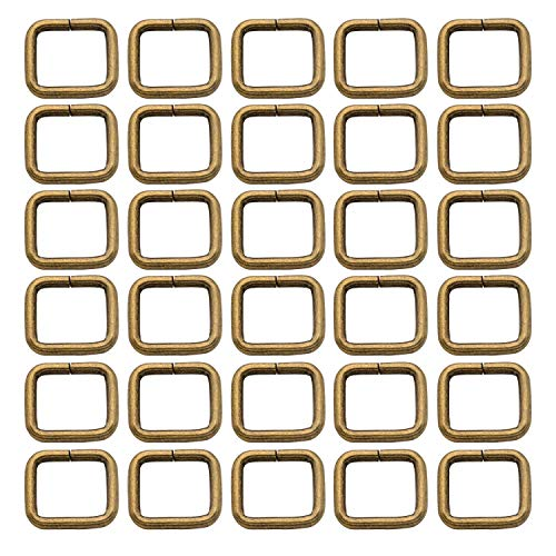 Metal Rectangle Ring Buckles Square Strap Webbing Belt Rings for Bag Purse Non Welded 5/8 x 1/2 Inch, Bronze, Pack of 30