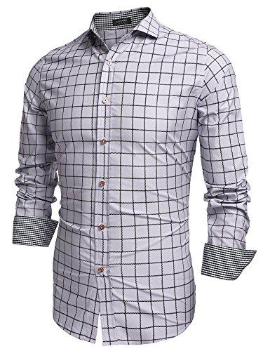 COOFANDY Men's Fashion Long Sleeve Plaid Button Down Casual Shirts