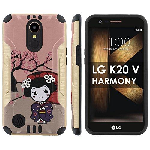"[Mobiflare] LG [K20 V/ K20 plus] LG Harmony Shock Proof Armor Protection [Gold/Black] Ultra Defender Protective Phone Case – [Cherry Blossom Girl] for LG [K20 V/ K20 plus/ Harmony] [5.3 "" Screen]"