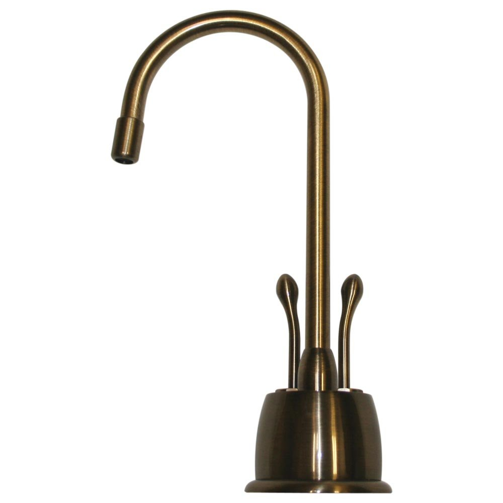 Whitehaus WHFH-HC4650-ABRAS Forever Hot 4 1/8-Inch Instant Hot/Cold Water Dispenser with Gooseneck Spout and Self Closing Hot Water Handle, Antique Brass