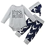 Xshuai For 0-24 Months Kids, 3Pcs Fashion Toddler Newborn Infant Baby Boy Little Brother Romper +Trousers + Cap Outfits Set Clothes (12-18 Months, Navy)