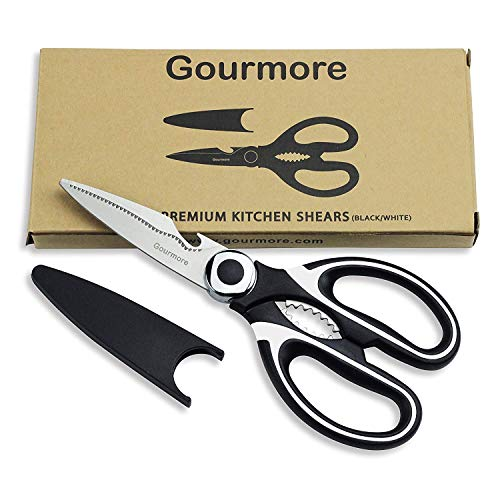 GOURMORE Kitchen Scissors Ultra Sharp Premium Stainless Steel Heavy Duty Shears and Multi Purpose for Chicken, Poultry, Fish, Meat, Vegetables, Herbs, and BBQ, 8.5''x3.5'', Black & White