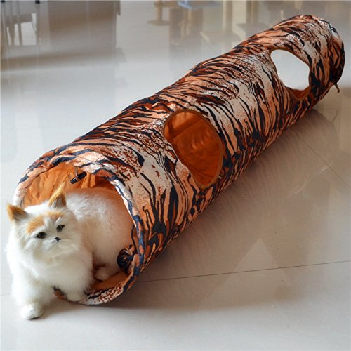 Tiger Print Cat Tunnel Pet Tunnel Funny Play Crinkle Sound Cat Toy Bulk Cat Toys Rabbit Play Tunnel Pet Toys Products Two Holes