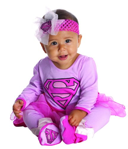 Infant Girl Superhero Costumes (DC Comics Supergirl Onesie And Headpiece, Pink, 0-6 Months)
