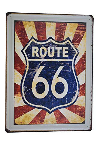 (K&H Route 66 Retro Metal Tin Wall Sign Poster Home Diner Restaurant Wall Decor 12X16-Inch (Route 66) )