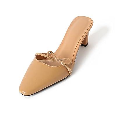 KJJDE Pantoletten Damenschuhe Sandalen Sandaletten WSXY-L0109 Chleife Bowknot Komfort Sandaletten Lack Schlappen...