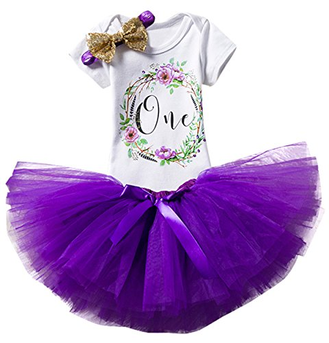 TTYAOVO Girl Skirt Newborn 3pcs Baby's 1st Birthday Set/Outfits with Romper + Tutu Dress + Headband Size 1 Years(with Flower),#4purple]()