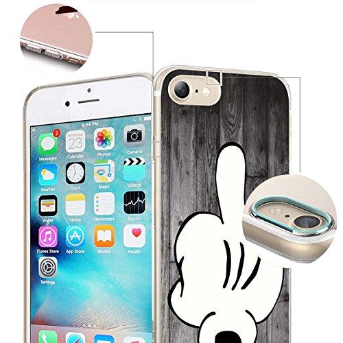finoo | Iphone 6/6S Weiche flexible Silikon-Handy-Hülle | Transparente TPU Cover Schale mit Motiv | Tasche Case Etui mit Ultra Slim Rundum-schutz | Mittelfinger