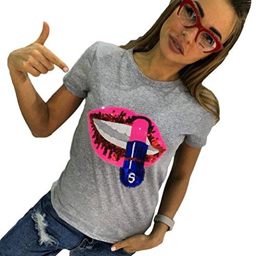 WanYang Mujeres Camisetas Manga Corta Labios Rojos De Lentejuelas T shirt Blusas Ocio Camisas Tops Verano Gris
