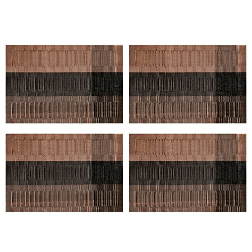 Placemats  Arricastle Stain Resistant Easy To Clean Reusable Woven Vinyl Kitchen Pvc Non Slip Insulation Place Mats For Table Set Of 4  Deep Coffee