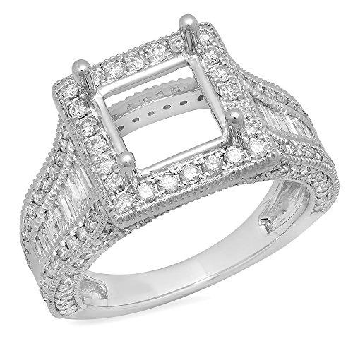 - 1.85 Carat (Ctw) 18K White Gold Round Diamond Semi Mount Round & Baguette Cut Diamond Princess Cut Stone Engagement Ring (No Center Stone)