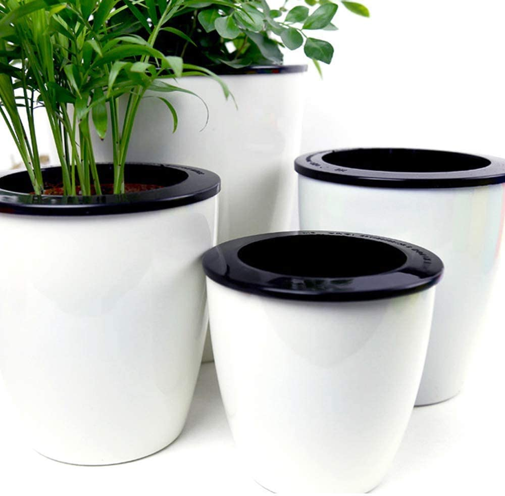 Mkono 3 Pack Self Watering Planter African Violet Pots Plastic White Flower Plant Pot with Wick Rope for All House Plants, Flowers, Herbs, Small