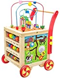 Wooden children's walker baby walker multi-function wooden puzzle four-sided round bead toy storage box