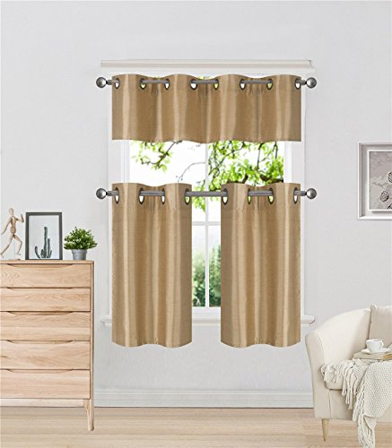 Elegant Home Collection 3 Piece Solid Color Faux Silk Grommet Blackout Kitchen Window Curtain Set with Tiers and Valance Solid Color Lined Thermal Blackout Drape Window Treatment # k9 (Gold)