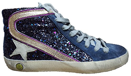 GOLDEN GOOSE DELUXE BRAND SNEAKERS SLIDE G26H308.A5 BLUE/GLITTER PURPLE
