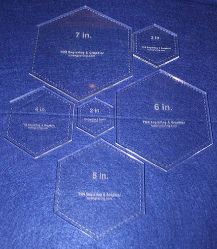 Hexagon Templates. 2'', 3'', 4'', 5'', 6'', 7'' - Clear ~1/4'' by TCR Templates