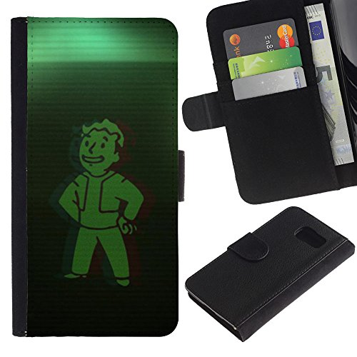 Funny Phone Case // Leather Wallet Protective Case with Slots for Money & Cards fit Samsung Galaxy S6 /Green Vault Boy/